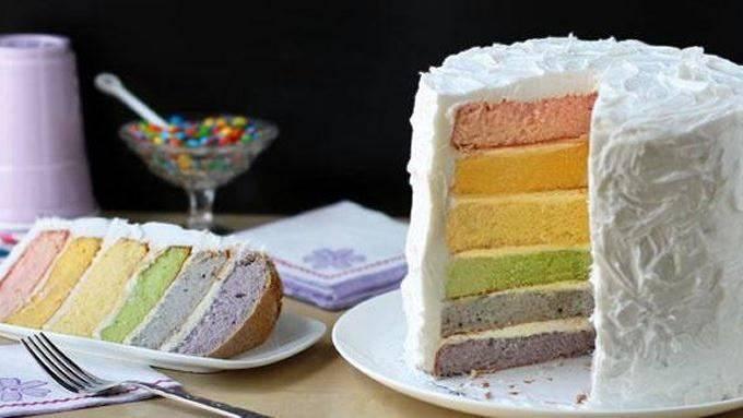 Радужный торт можно сделать с натуральными красителями, но он не будет очень ярким