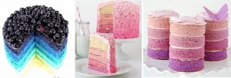 Такие цветные торты на срезе выглядят очень красиво