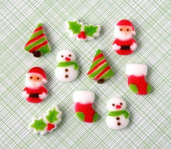 Готовые сахарные фигурки новогодней тематики