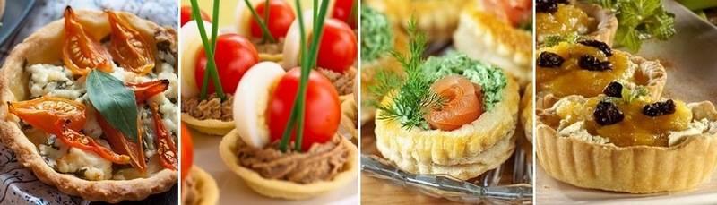 Примеры закусок в тарталетках